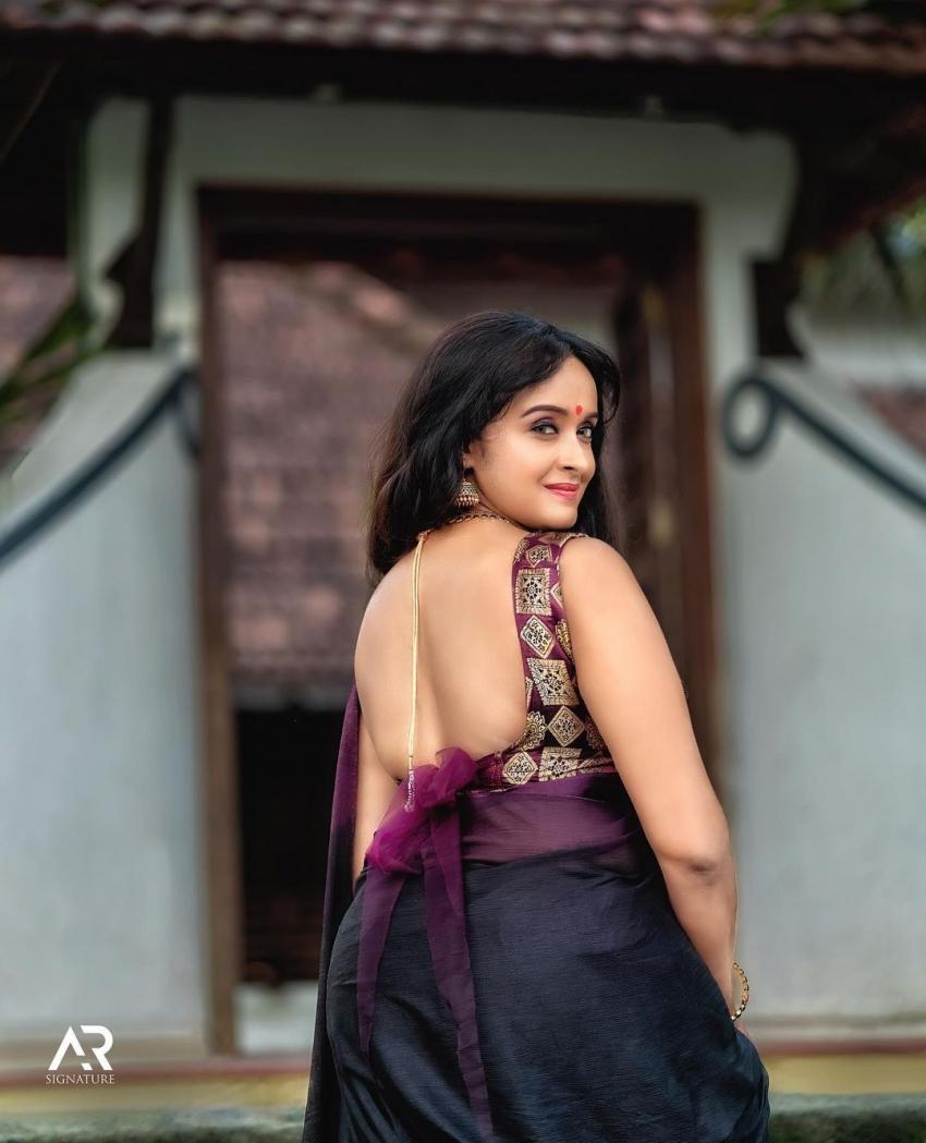ലോ ബാക്ക് ബ്ലൗസ് അണിഞ്ഞ് ശാലു മേനോന്; ഇത് ശാലീന സൗന്ദര്യമെന്ന് ആരാധകര്