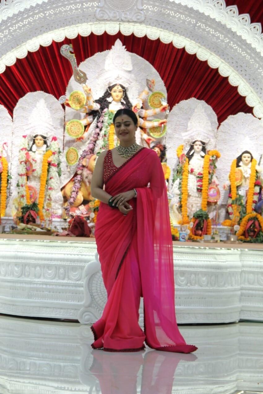 Kajol snapped for Durga Puja Celebration Photos