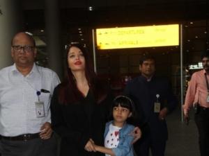 Aishwarya Rai Bachchan & Abhishek Bachchan Spotted At Mumbai Airport