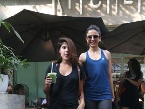 Rhea Chakraborty and Rakul Preet at Kitchen Garden in Bandra