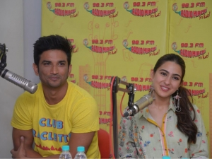 Sara Ali Khan and Sushant Singh Rajput promote Kedarnath at a radio mirchi