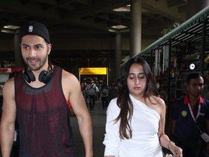 Varun Dhawan with Natasha Dalal Snapped at Mumbai Airport