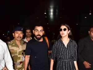 Anushka Sharma and Virat Kohli snapped at Mumbai Airport