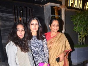 Bhumi Pednekar with family spotted after dinner at Yazu in Andheri