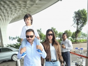 Saif Ali Khan, Taimur Ali Khan and Kareena Kapoor Khan snapped at Mumbai Airport