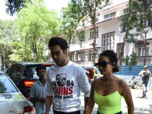 Rajkummar Rao and Patralekha spotted at Kitchen Garden in Mumbai