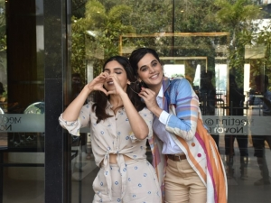 Taapsee Pannu and Bhumi Pednekar snapped promoting their film 'Saand Ki Aankh' in Mumbai