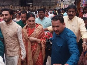 Deepika Padukone and Ranveer Singh at Tirupati Temple on their first Wedding Anniversary