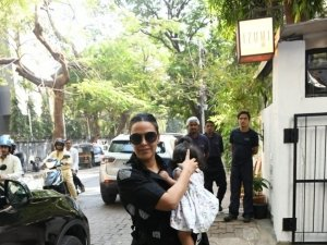Neha Dhupia and Angad Bedi spotted at Izumi Restaurant