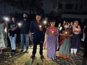Chiranjeevi Wth Family Light Candle To As India Fight Against Corona Virus