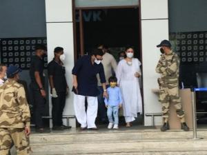 Kareena Kapoor, Saif Ali Khan and Taimur Ali Khan snapped at Kalina Airport