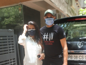Harbhajan Singh and Geeta Basra Spotted At Clinic In Bandra
